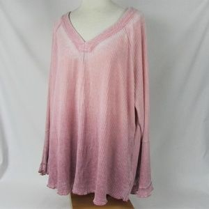 Seven7 Size 3X Dusty Rose Pink bell sleeve Top